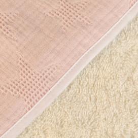 Capa baño algodón waffle estrellas rosa