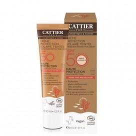 Crema Solar Con Color Spf50 Cara Y Escote Bio 40 Ml Cattier