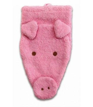 Manopla de algodón orgánico hipopotamo.